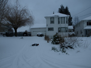 My very old house in the snow (with my son sliding down the hill).
